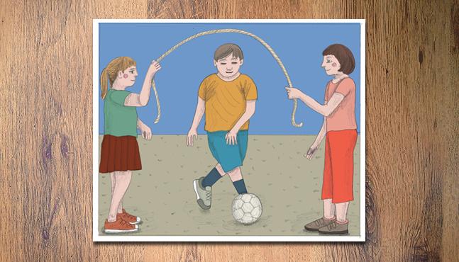 """Pasar bajo la comba con una pelota""  :: Mada Elek"