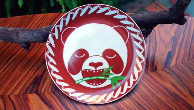 "Foto plato ""Panda e bambú"""
