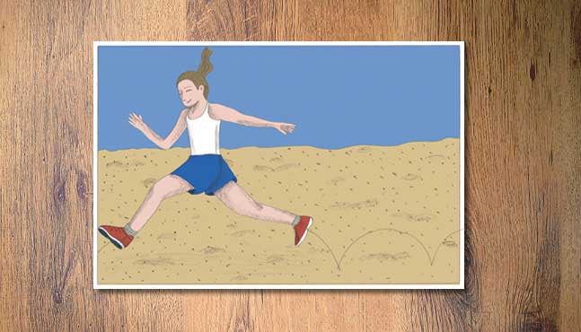 """Salto a distancia en la arena"" :: Mada Elek"