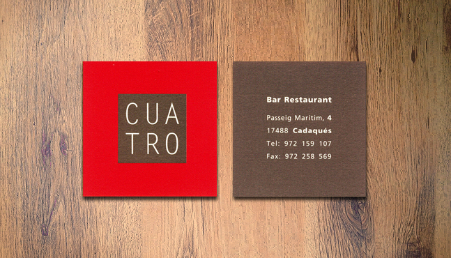 Tarjeta Restaurante Cuatro :: Mada Elek